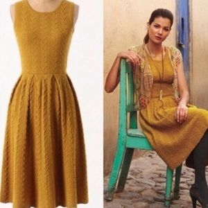 Anthropologie Mustard Cable Knit Sweater Dress